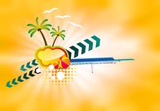 Color illustration with palm trees. Illustration with palm trees and beach balls on an orange background Royalty Free Stock Photos