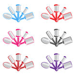 Color illustration with several hairbrushes Stock Images