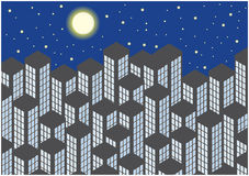 Color illustration of skyscrapers by night Stock Images