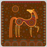 Color illustration with a stylized horse in the ethnographic style. Stock Images