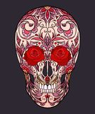 Color  illustration of a sugar skull. The holiday of the Day of the Dead. Royalty Free Stock Photography