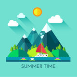 Color illustration of summer time. Color vector flat icon set and illustration summer time Stock Photos
