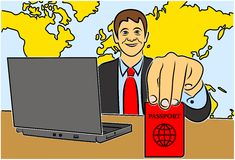 Color illustration of a travel agency Stock Image