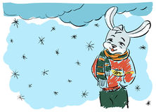 Color illustration winter rabbit colorful. Color illustration. Doodle, untidy shading Stock Photos