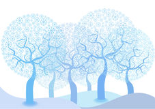 Color illustration of winter snowflakes trees Royalty Free Stock Image