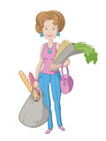 Color illustration of a woman with bags Royalty Free Stock Images