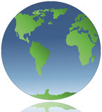 World globe. Color illustration of a world globe Stock Photo