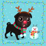Vector cartoon Christmas dog in a frame of garlands. Symbol of new year 2018. Color illustrations with cute black pug in a deer costume and snowman. Winter Vector Illustration