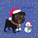 Vector cartoon Christmas dog in a frame of garlands. Symbol of new year 2018. Color illustrations with cute black pug in Santa`s hat and snowman. Winter Vector Illustration