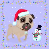 Vector cartoon Christmas dog in a frame of garlands. Symbol of new year 2018. Color illustrations with cute pug in Santa`s hat and snowman. Winter background Vector Illustration