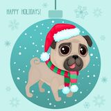 Vector cartoon Christmas dog. Symbol of new year 2018. Color illustrations with cute pug in Santa`s hat and striped scarf. Winter background with Christmas ball Vector Illustration