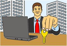 COLOR ILLUSTRATIONS OF REAL ESTATE AGENCIES Royalty Free Stock Photos