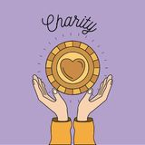 Color image background hands with floating golden coin with heart shape inside charity symbol. Vector illustration Royalty Free Illustration