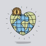 Color image background with money box in globe earth world in heart shape with golden coin Royalty Free Stock Image