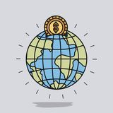 Color image background with money box in globe earth world shape with golden coin Royalty Free Stock Photos
