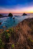 Sunset at a Rocky Northern California Beack. Color image of a beautiful sunset overlooking the Pacific Ocean in Northern California Stock Image