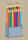 BOX WITH PENCILS PATTERN. Color  image of colored pencils for painting in a box Royalty Free Stock Photography