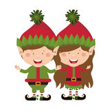 Color image with couple of christmas gnome children Royalty Free Stock Photography