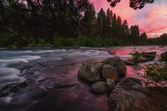 Deschutes River at Sunset. Color image of the Deschutes River at sunset. Central Oregon, USA royalty free stock images