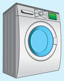 WASHING MACHINE SAMPLE. Color image of the device for washing clothes and linen on blue background Stock Illustration