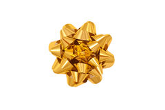 Color image of a gold gift wrap bow royalty free stock image