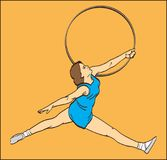 GYMNAST GIRL WITH A HOOP ON THE ORANGE BACKGROUND. Color image of a gymnast girl with a sport hoop on an orange background Royalty Free Stock Images