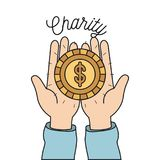 Color image hands holding in palms a golden coin charity symbol. Vector illustration Royalty Free Illustration