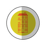 Color image middle shadow sticker in circle with apartment with several floors Stock Images