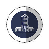 Color image middle shadow sticker in circle with house with four floors Royalty Free Stock Photo