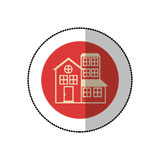 Color image middle shadow sticker in circle with house with three floors Royalty Free Stock Photo