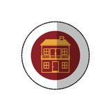 Color image middle shadow sticker in circle with house with two floors and balcony Royalty Free Stock Photos