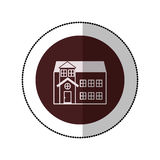 Color image middle shadow sticker in circle with house with two floors Stock Photography