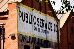 Brick Public Service Co Building in Rural Colorado stock photo