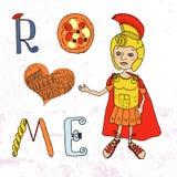 Color Image Roman gladiator, Lettering with Roman and Italian elements - pizza, pasta, column, contour Coliseum. Color Image Roman gladiator in armor and helmet Stock Image