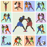 25 color images boxers. 25 color vector images isolated on a multicolored background boxers Royalty Free Stock Photography
