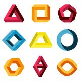 Color impossible vector shapes set Royalty Free Stock Images