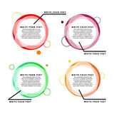 Color infographic banner. Transparent geometric circles with text. Transparent geometric circles with text Royalty Free Stock Image