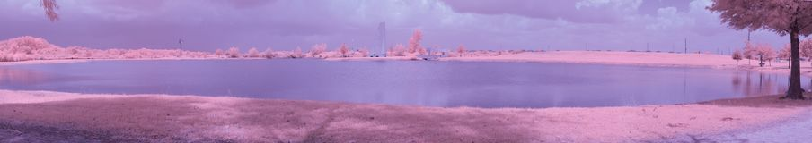 Infrared park lake on a sunny, summer day. royalty free stock images