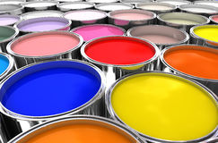 Color ink. 3d image of color ink tank background Stock Images