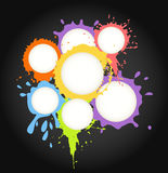 Color ink blots speech clouds Royalty Free Stock Photo