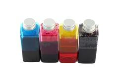 Color ink bottles Stock Images