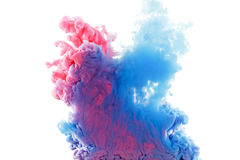Color ink paint in water, photographed motion, isolated on white. Royalty Free Stock Photo