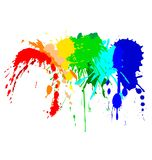 Color ink splash on the white Stock Photos