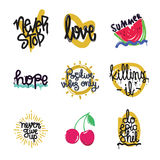 Color inspirational vector illustration set, motivational quotes Royalty Free Stock Photography