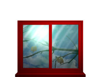 Color intensive windows. Red window frame with color intensive window looking at a bare branch and falling leaves.3d illustration Stock Photos