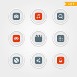 Color interface icons collection Royalty Free Stock Photos