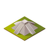 Color Isometric Iluustration. Of El Castillo - Kukulkan Pyramid in Chichen Itza, Mexico Royalty Free Stock Images