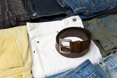 Color jeans and belt Stock Photos