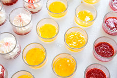 Color jelly fruit pudding recipes sweet dessert cocktail. Color jelly fruit pudding recipes sweet dessert cocktail dinner prepare to serve in glass cup at the stock images