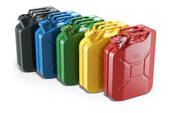Color jerry cans in row. Isolated on white background 3d Stock Photos